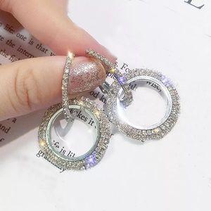 Silver Crystal Hoop Dangle Earrings